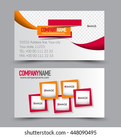 Business card design set template for company corporate style. Red and orange color. Vector illustration.