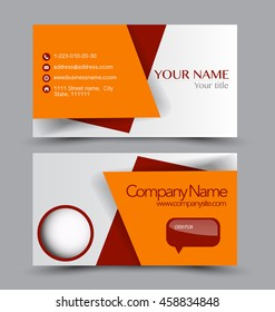 Business card design set template for company corporate style. Orange and red color. Vector illustration.