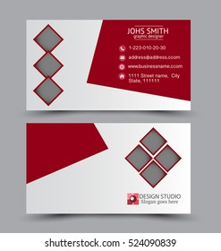 Business card design set template for company corporate style. Red color. Vector illustration