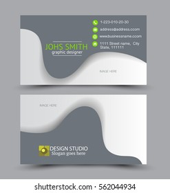 Business card design set template for company corporate style. Green and grey color. Vector illustration