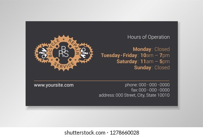 Business card design template with orange chainring and bike tool silhouettes on dark gray background. Good for bicycle repair service, center; bicycle parts shop.