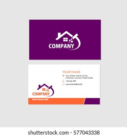 Business Card Design Template, Orange and Purple combination with Home Cleaning Services Logo.
