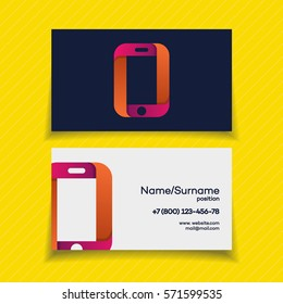 Business card design template with phone logo on yellow background use for mobile store, mobile shop, phone service and repair. Perfect for your business design. Vector Illustration