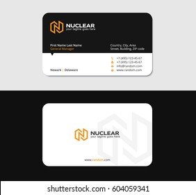 business card design template with yellow N letter as a thunderbolt