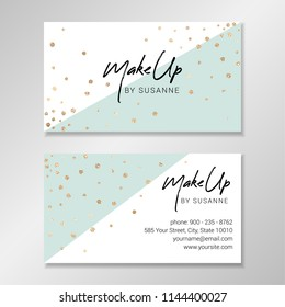 Business card design with white and pale mint geometric shapes and faux gold foil confetti. Vector modern customizable business card. Easy to customize with your own text.