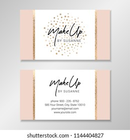 Business card design with white and pale pink geometric shapes and faux gold foil confetti. Vector modern customizable business card. Easy to customize with your own text.