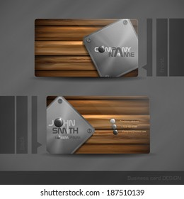 Business Card Design With Wood Texture.  Vector Illustration. Eps 10