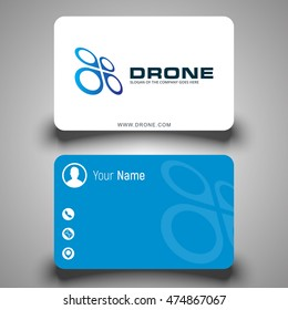 Business card. Drone logo. Aerial footage. Vector