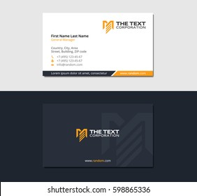 business card for engineering and construction with the letter M