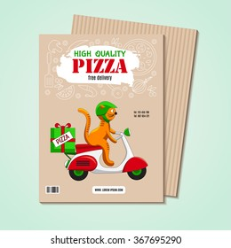 Business card or flyer with an image of ingredients for pizza and fun cat on the scooter as a pizza delivery vehicles. Fast-food business, pizza or other menu. Funny cartoon background for cafe.