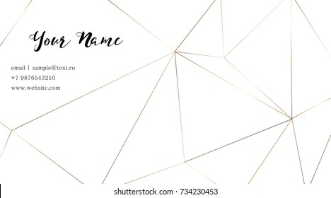 Business card with a gold geometric pattern. Gold polygonal texture. Corporate identity template in trendy colors with geometric shapes for modern cute romantic design. Art deco style.Vector. EPS 10