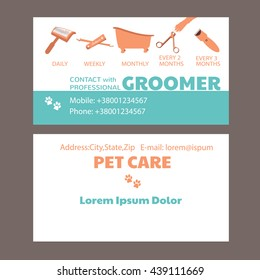 Business card of grooming service pet, informative banner