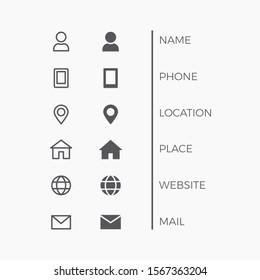 Business Card Icon Set. Vector minimal symbols. Web signs