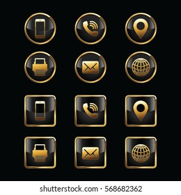 Business Card Icon Set. Web Icons. Luxury Icons.