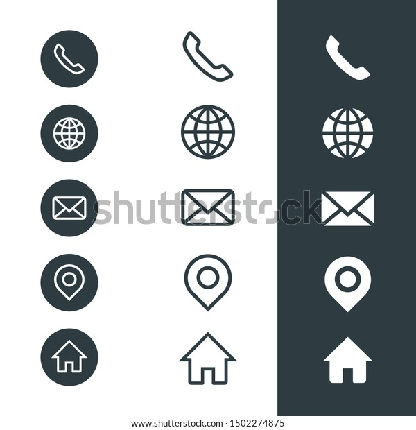 Business Card Icons Telephone Website Email Stock Vector Royalty Free 1502274875