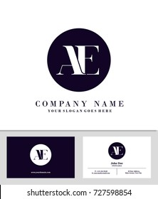Business card and initial A and E logo template vector