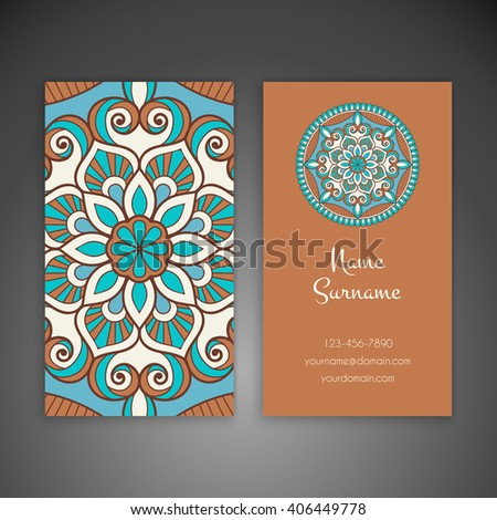 Business Card Invitation Vintage Decorative Elements Stock Vector