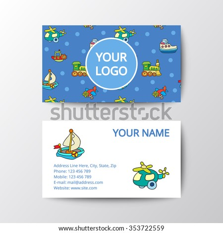 business card with kids toys template corporate style for toy shop eps 10 - Kids Business Cards