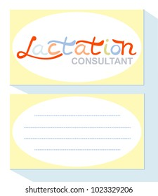 Business card for a lactation consultant. Place for text. Template. Flat design in gentle colors.