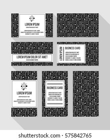 Business card layouts for vape shop and e-cigarette store, black and white image. Electronic Cigarette