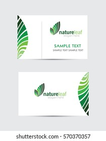 business card with leaf logo