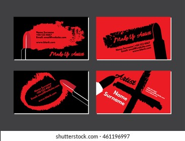 Business card for make up artist featuring red lipstick and drawing vector on black and red background.