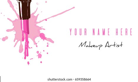 Business Card For Make Up Artist With Pink Hand Drawing Lipstick Splashes Dripping Drops