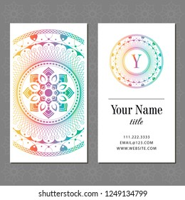 A business card with a mandala and a monogram. Vector illustration.