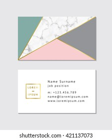 Business card with marble texture and gold detail