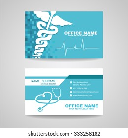 Business card for Medical healthcare - Whtie Caduceus , Stethoscope and Waves of the Heart on Soft Blue background vector design