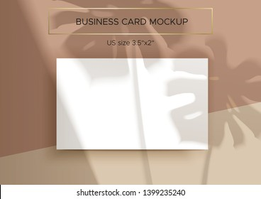 Business card Mockup. Natural overlay lighting shadows of the monstera leaves. Photorealistic vector illustration. Business cards 3.5x2 inch. Scene of Tropical Leaf Shadows and pastel background.