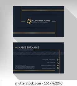 Business card in modern luxury style black and gold color