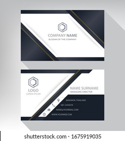 Business card in modern luxury style black gold white