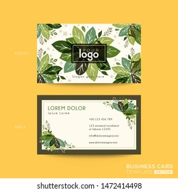 business card, name card design with green leaves background