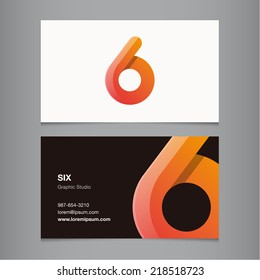 Business card with number 6