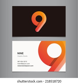 Business card with number 9