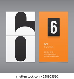 Business card with a number logo, numeral six