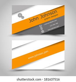 business card with orange stripes. office concept