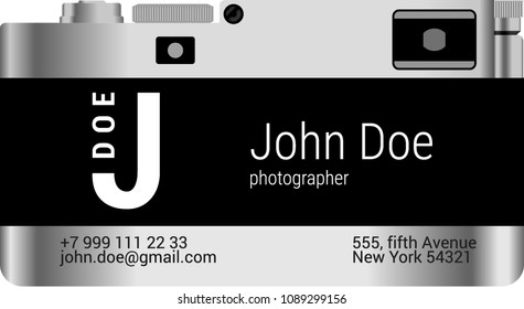 business card of the photographer