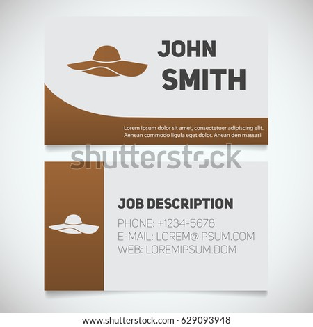 Business card print template beach hat stock vector royalty free business card print template with beach hat logo womens attire hats shop stationery design flashek Image collections