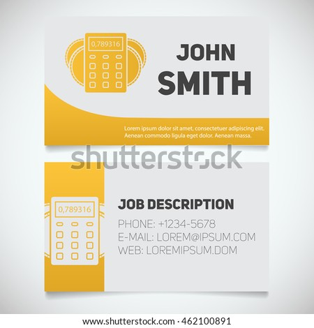 Business card print template calculator coins stock vector royalty business card print template with calculator and coins logo easy edit accountant bank wajeb Image collections