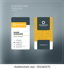 Business card print template with company logo. Black and yellow colors. Clean flat design. Vector illustration. Business card mockup with rounded corners on grey blurred background