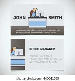 business card print template with office manager logo easy edit programmer system administrator - Business Card Manager