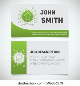 Business card print template with smart house logo. Real estate. Stationery design concept. Vector illustration