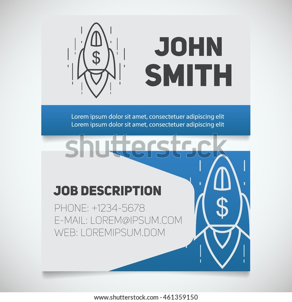 Business card print template with spaceship logo. Easy edit. Startup manager. Business coach. Goal achievement symbol. Stationery design concept. Vector illustration