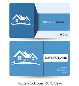 Construction business card images stock photos vectors shutterstock business card for real estate and construction of houses reheart