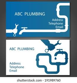 Business card to repair plumbing, vector
