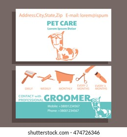 Business card of service grooming pet, informative banner with dog