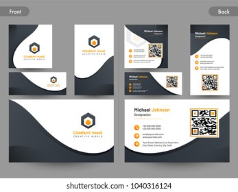 Business card set with front and back presentation.
