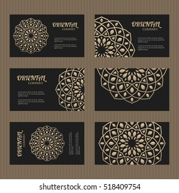 Business card set. Golden mandala decorative elements. Ornamental floral cards with oriental pattern. Islamic, arabic, indian, turkish, pakistan, chinese, japanese, asian motifs. Vector illustration.